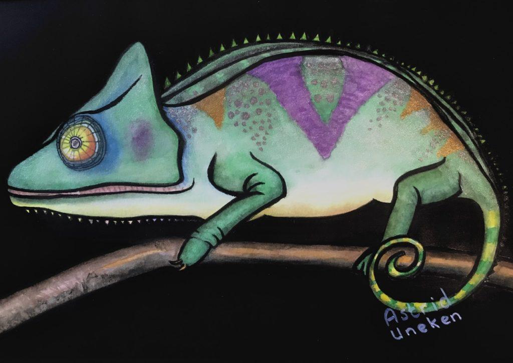 Schilderij van een kameleon met haar eigen kleuren