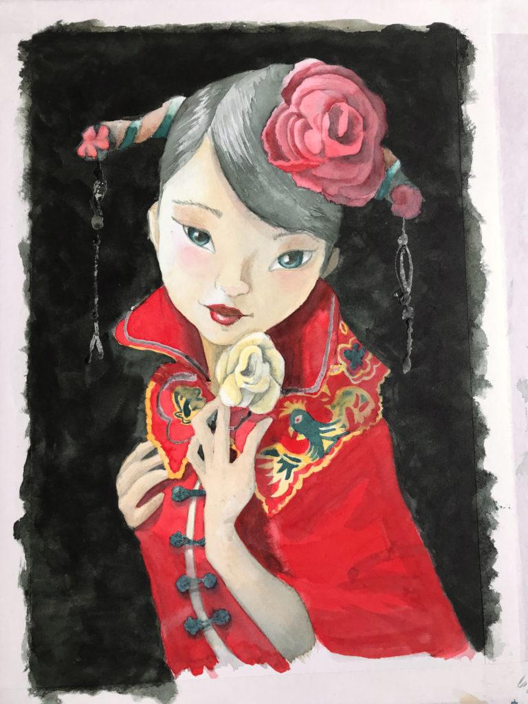 Japanse Dame in aquarel
