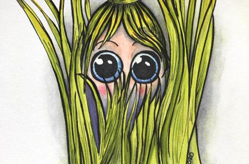Illustratie Verscholen in het gras